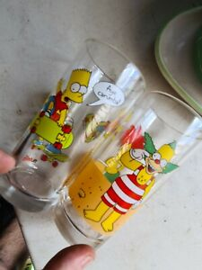 The Simpsons Nutella Collectible Dringing Glass Cup Rare Bart Krusty X 2 1998