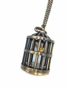 XmasVintage antique bird cage clock gold pattern necklace pendant Clock Not Work