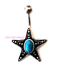 Antique Star Oval Turquoise Stainless Steel Non Dangle Belly Navel Ring