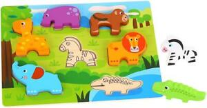 Tooky Toy - Wooden Animals Chunky Puzzle Toddler Toy