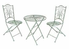 Metall Bistroset antik grün - 1x Tisch und 2x Stuhl - Gartenstuhl Gartentisch