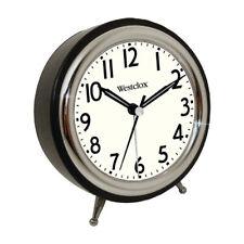 Westclox Classic Retro Alarm Clock Chrome Bezel 5 inch Battery Operated, Black