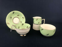 Art Deco bone china cup & saucer and creamer & sugar bowl #146 England c.1930s