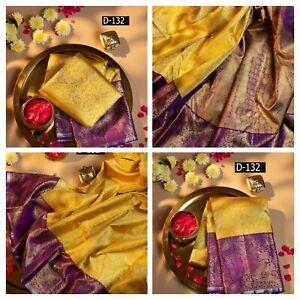 Kanchipuram silk saree pakistani wedding sari yellow indian Designer ethnic wear