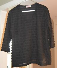 "Women's ""Pretty Woman Collection"" Black Ruffled Lined Blouse *Pre-Owned*"