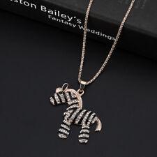 Fashion Women Crystal zebra Pendant Long Chain Sweater Necklace Gift