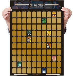 100 Scratch Off Poster Anime Bucket List Photo Artistic Icons For Anime Lovers
