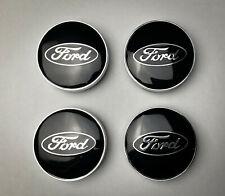 4x Ford Black 60mm Alloy Wheel Hub Centre Caps Badges
