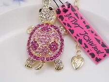 Betsey Johnson fashion jewelry Cute Pink Crystal turtle pendant necklace # A