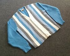 Mens 50s 60s Vtg Campus Blue White Gray Stripes Cardigan XL