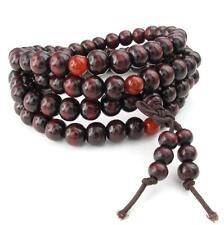 Mens Womens Wood Bracelet 8mm Tibetan Buddhist Sandalwood Beads Prayer Mala