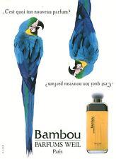 Publicité ancienne Parfum Bambou Weil non parfumé