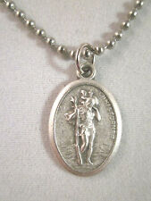 "St Saint Christopher Land Sea Air Medal Italy 24"" Ball Bead Necklace Chain"