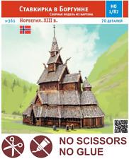 BORGUND STAVKIRKE Church Scale 1/87 (HO) Railway Train Model Kit Cardboard #361