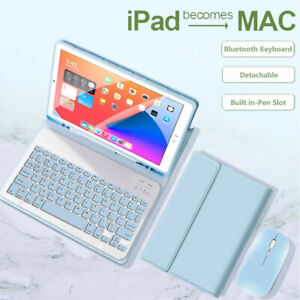 Bluetooth Keyboard Mouse Leather Flip Case for iPad 9.7 Pro 10.5 Air 4 6/7/8th