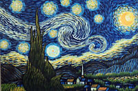 Starry Night Famous Van Gogh Repro Moon Stars Church Lge. Oil Painting STRETCHED