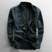 Men Cotton Linen Shirt Formal Retro Long Sleeve Mandarin Collar Frog Button Tops