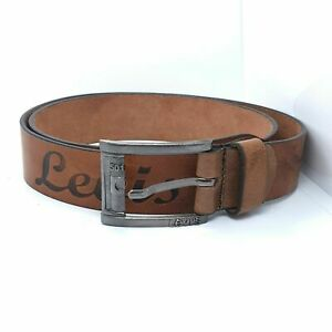 LEVI'S Texture Saddle Brown Color Levi's Leather Men Belt Size 44In made America