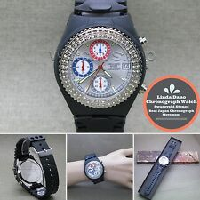 Linda Dano Quartz Wrist Watch Japan SII Chronograph Austria Stones Rubber Band 7