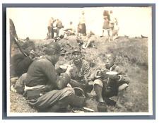 Japan, Japanese soldiers having meal  Vintage silver print.  Tirage argentique