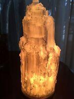 White Large Selenite Lamp  And Cord Crystal Lamp Gemstone Specimen Reiki Healing
