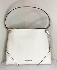 New Michael Kors Nicole Medium Shoulder Bag Leather Light Cream