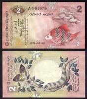 SRI LANKA 1979 BANK OF CEYLON 2 RUPEES P-83 FISH BUTTERFLY CRISP UNC BANKNOTE