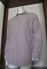 XL Men Banana Republic Fitted Long Sleeve Button Shirt White Brown Cotton EuC