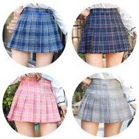 Women High Waist Plaid Skater Flared Pleated Short Skirt Tennis Polyester Skirt