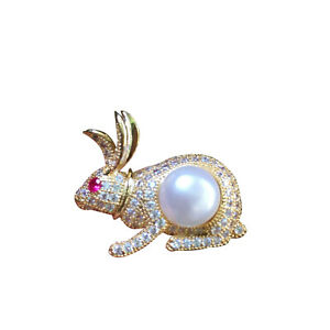 10~11mm Lovely Gold Bunny Rabbit White Freshwater Pearl Brooch 34x28mm 38
