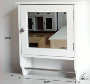 Wooden Wall Mirror Single Door Shelf With Towel Holder Bathroom Storage Unit