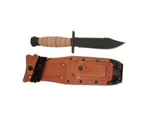 Ontario 6150 Black Air Force Fixed Blade Survival Knife + Sheath