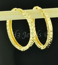 18k solid yellow gold diamond cut hoop earring 20 mm 3.00 grams 3/4 inches #3737