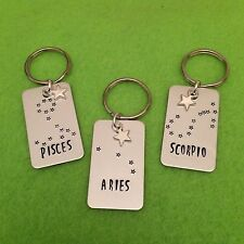 Hand Stamped Zodiac Constellation Keyring/Keychain Astronomy Astrology Star Sign