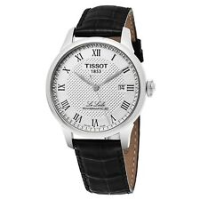 Tissot Men's Le Locle Silver Dial Leather Strap Mechanical Watch T0064071603300