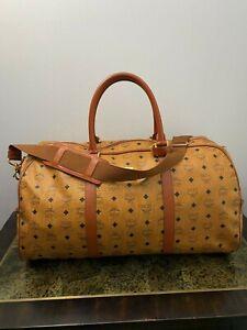 """MCM Vintage Weekender Visetos Cognac Travel Bag 22"""" Luggage"""