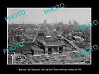 OLD LARGE HISTORIC PHOTO OF KANSAS CITY MISSOURI, UNION RAILROAD STATION c1950