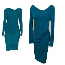 L.k. Bennet Ariella Ruched Midi Dress Sheath Two Way Neckline Blue Size 2 $364