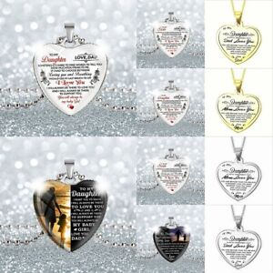 UK Love Letter To My Son  Daughter Family Heart Necklace Pendant Jewelry Gift