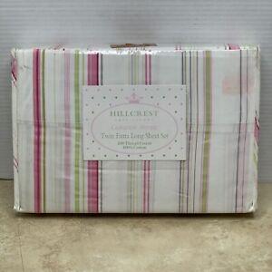3pc Hillcrest Extra Long Twin Sheet Set Pink Green Cameron Stripe 310 TC Cotton