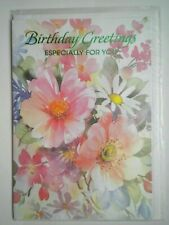 """SPRING FLOWERS """"BIRTHDAY GREETINGS ESPECIALLY FOR YOU"""" GREETING CARD + ENVELOPE"""