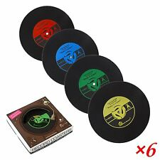 Drink Coasters Non Slip Coffee Tea Water Good Grip Mats Vinyl Record Retro Gift