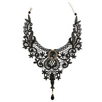 Gothic Victorian Black Lace Choker Necklace Metal Cameo Jewel Steampunk Cos X0A0