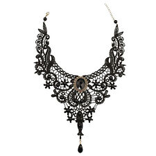 Gothic Victorian Black Lace Choker Necklace Metal Cameo Jewel Steampunk Cosplay