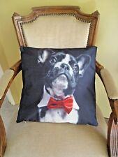 French Bulldog Cute Pug Black & White Red Bow Tie Cushion Cover FREEPOST