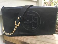 EUC Tory Burch Bombe Glazed Leather Reva Clutch Shoulder bag in Black- $350
