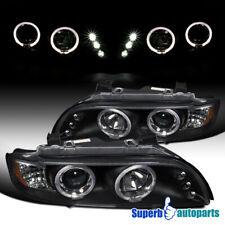 For 1996-2003 BMW E39 528i 540i Dual LED Halo Projector Headlight Black