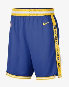 Nike Golden State Warriors Basketball Shorts Size Large Swingman Blue Gold HWC