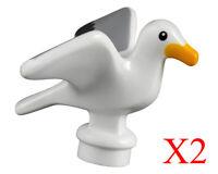 Lego Seagull with Bright Light Orange Beak Animal Bird Minifigure Lot Of 2