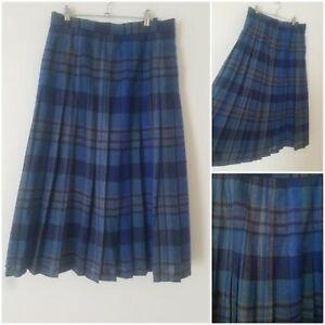 Vintage Boho Blue White Tartan Checked Midi Skirt Kilt Size 10 Xmas Lined Arty